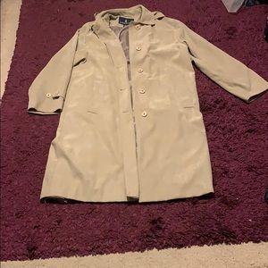 London Fog size 8 suede like cream trench coat